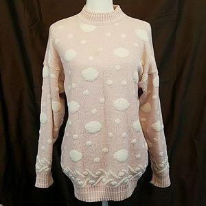 80s Fairy kawaii pastel metallic polka dot sweater